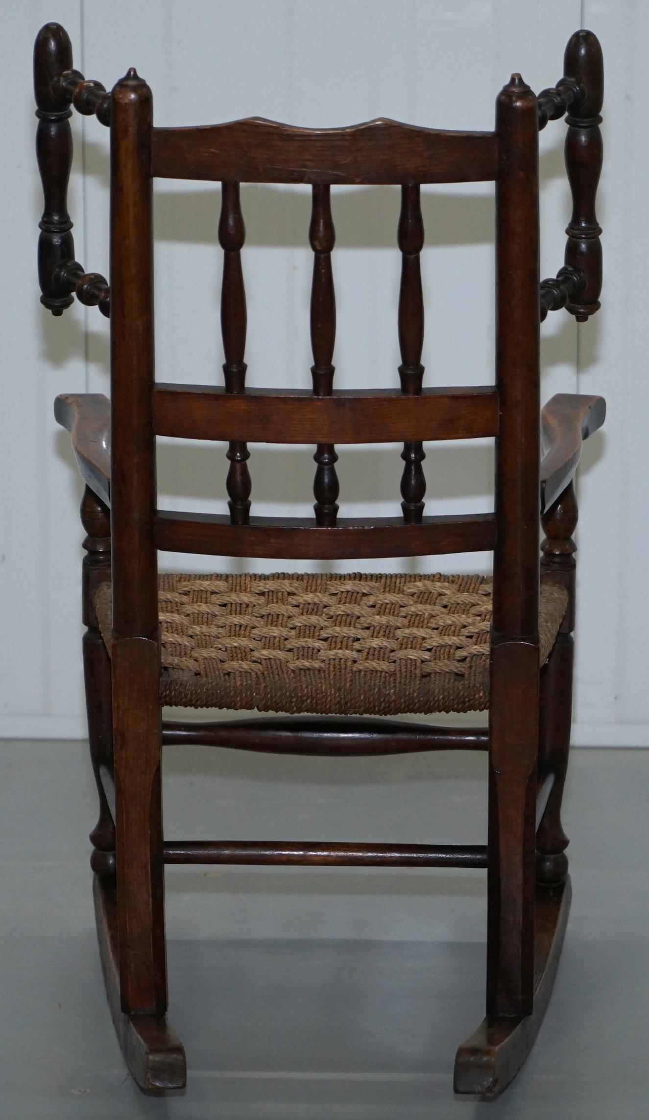 Enjoyable Rare Childrens Small Antique Rope Seat Georgian Rocking Chair Solid Elm Display Machost Co Dining Chair Design Ideas Machostcouk
