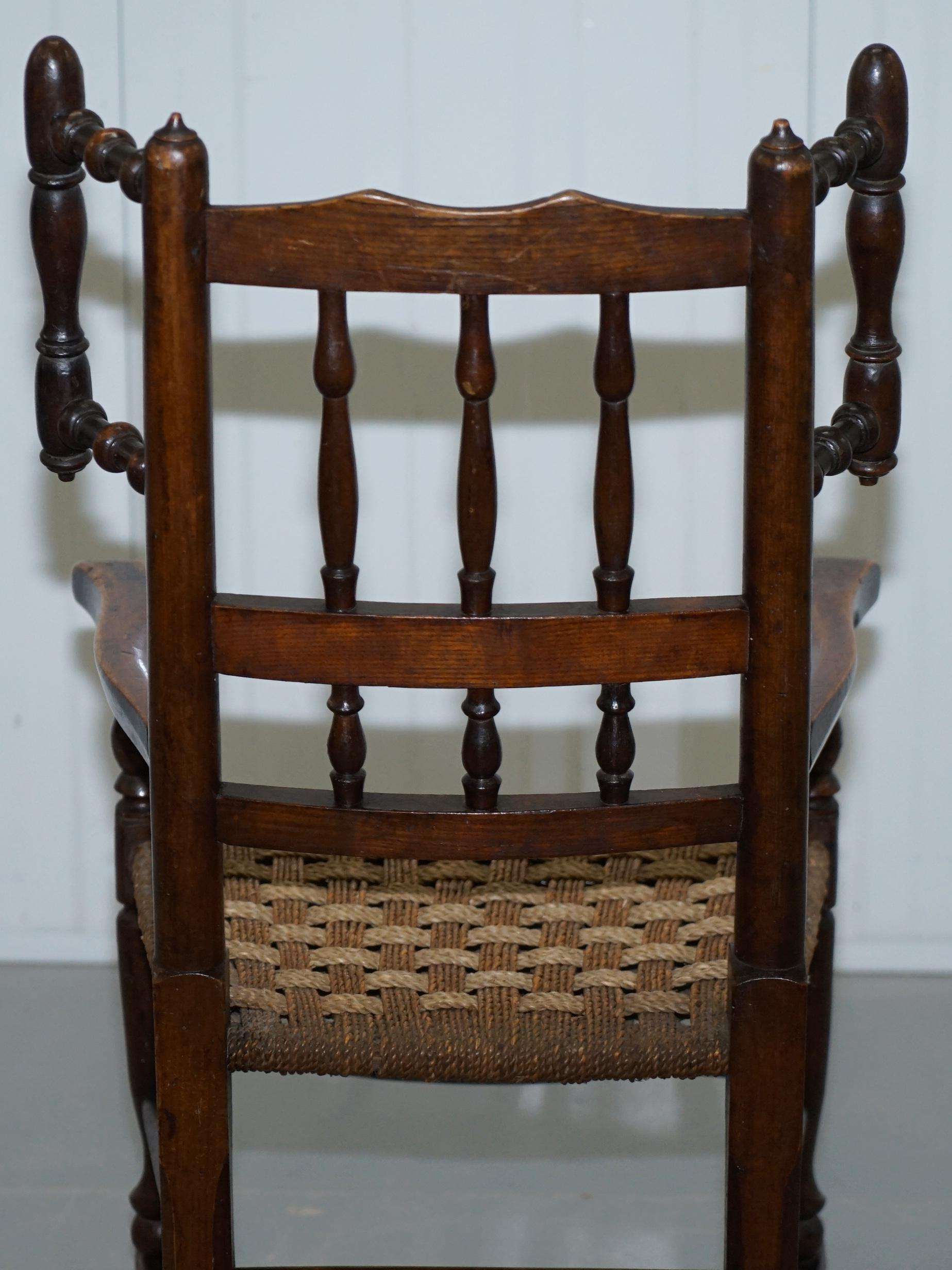Admirable Rare Childrens Small Antique Rope Seat Georgian Rocking Chair Solid Elm Display Machost Co Dining Chair Design Ideas Machostcouk