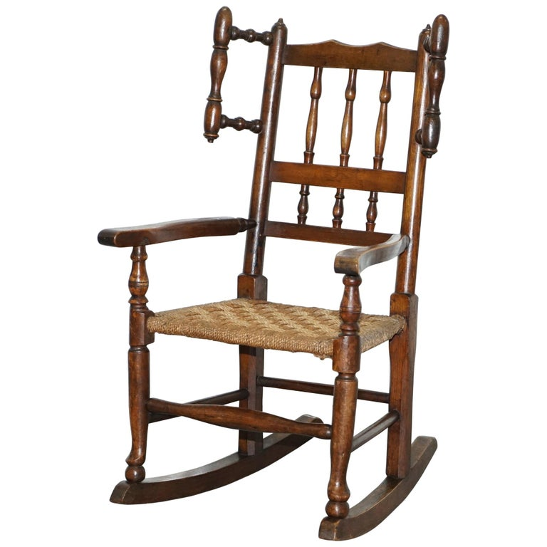 Rare Children S Small Antique Rope Seat Georgian Rocking Chair Solid Elm Display For