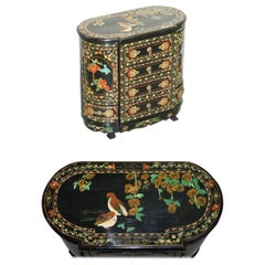 Rare Chinese Black Lacquer Hand Painted Chinoiserie Side Table Drawers Cupboard