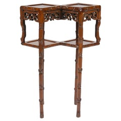 Rare Chinese Carved Hong Mu Two Top and Two-Tier Stand or Table