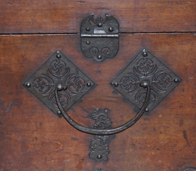Rare Chinese circa 1840 Campaign Chest Ornate Metal Work Swastika Well Being For Sale 4