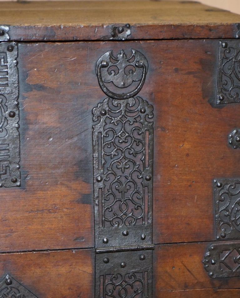 Rare Chinese circa 1840 Campaign Chest Ornate Metal Work Swastika Well Being For Sale 6