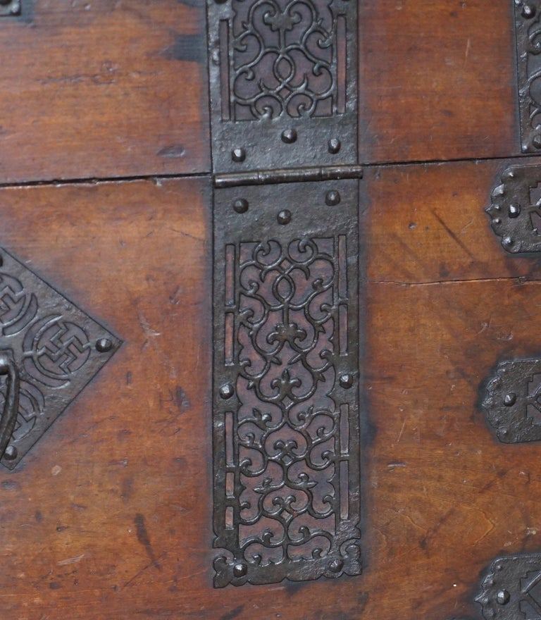 Rare Chinese circa 1840 Campaign Chest Ornate Metal Work Swastika Well Being For Sale 7