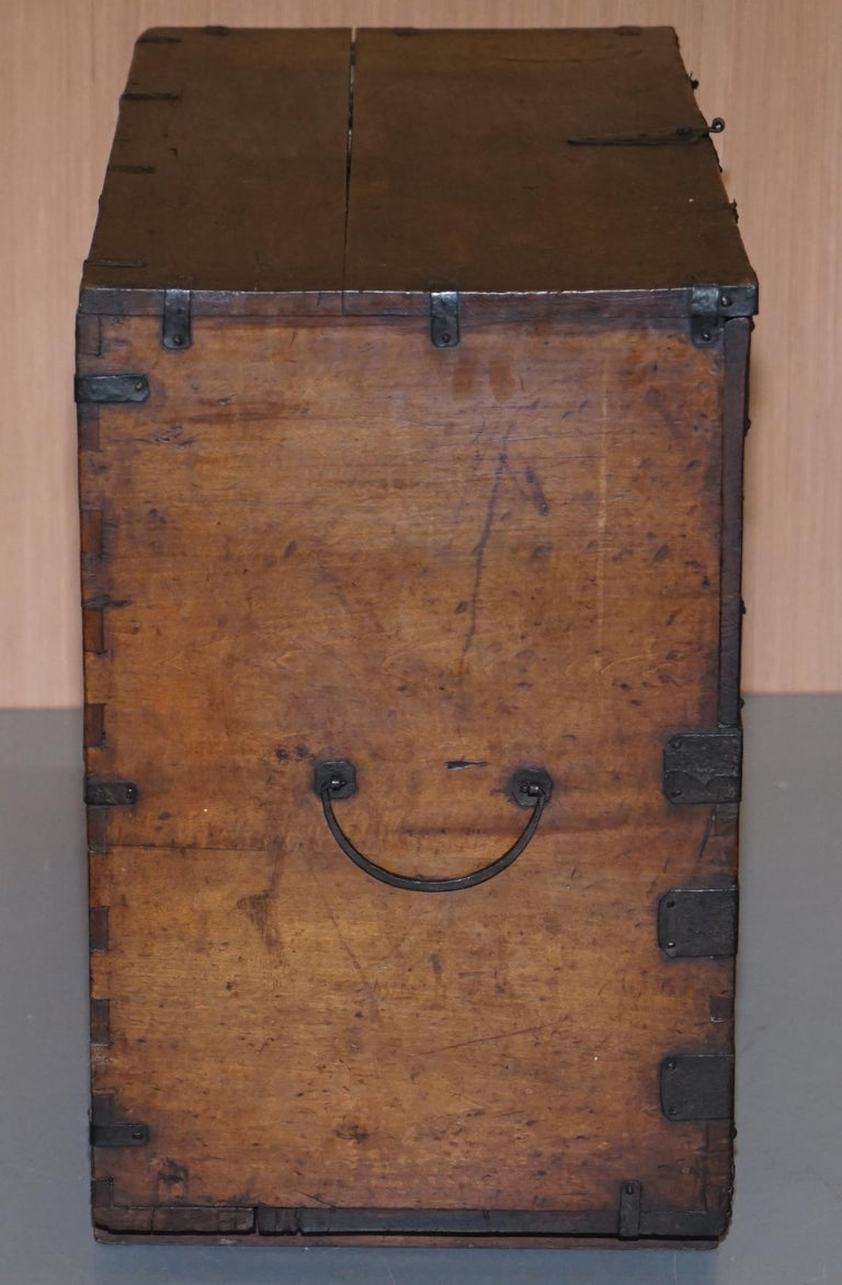 Rare Chinese circa 1840 Campaign Chest Ornate Metal Work Swastika Well Being For Sale 8