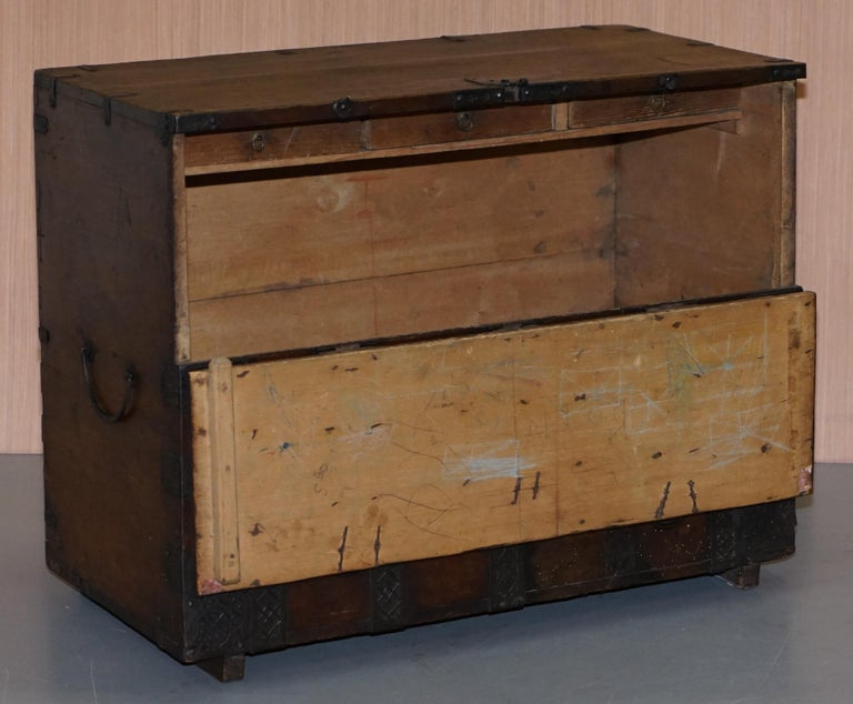 Rare Chinese circa 1840 Campaign Chest Ornate Metal Work Swastika Well Being For Sale 11