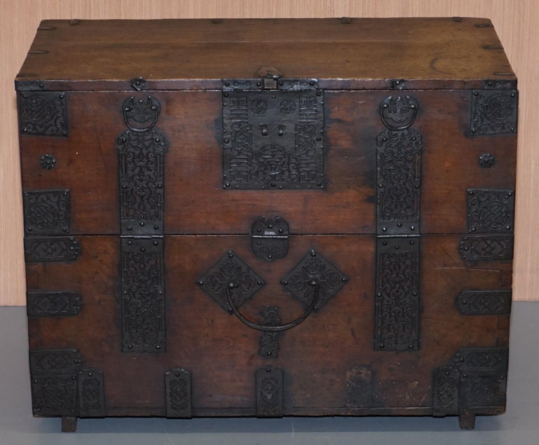 Hand-Crafted Rare Chinese circa 1840 Campaign Chest Ornate Metal Work Swastika Well Being For Sale