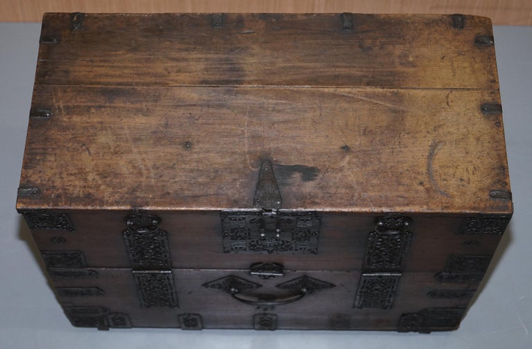 Rare Chinese circa 1840 Campaign Chest Ornate Metal Work Swastika Well Being In Distressed Condition For Sale In London, GB