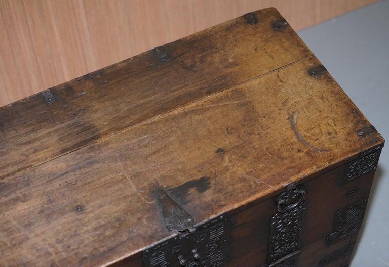 Wood Rare Chinese circa 1840 Campaign Chest Ornate Metal Work Swastika Well Being For Sale