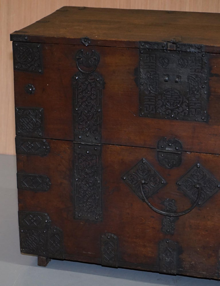 Rare Chinese circa 1840 Campaign Chest Ornate Metal Work Swastika Well Being For Sale 1