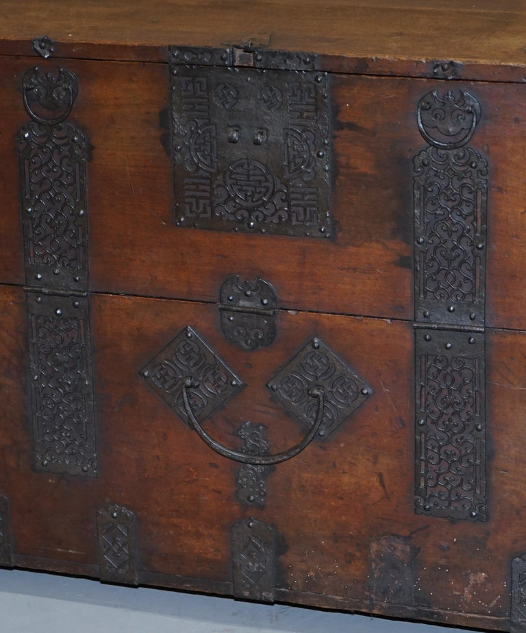 Rare Chinese circa 1840 Campaign Chest Ornate Metal Work Swastika Well Being For Sale 2