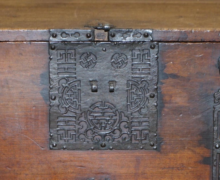 Rare Chinese circa 1840 Campaign Chest Ornate Metal Work Swastika Well Being For Sale 3