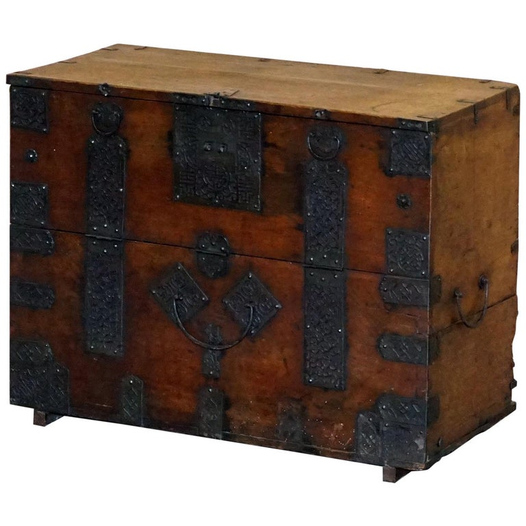 Rare Chinese circa 1840 Campaign Chest Ornate Metal Work Swastika Well Being For Sale