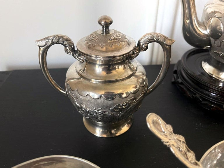 Rare Chinese Export Sterling Silver Tea Set with Dragon Design Tianjing Wuhua For Sale 2