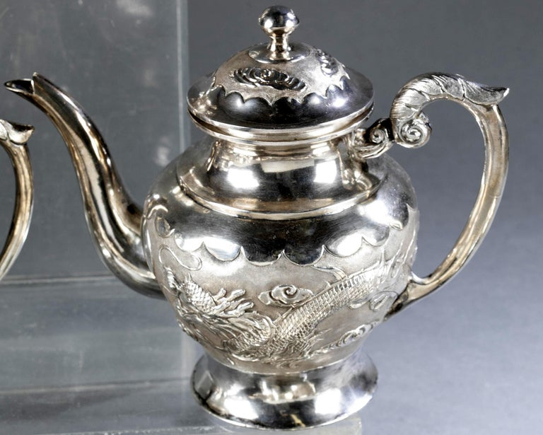 Rare Chinese Export Sterling Silver Tea Set with Dragon Design Tianjing Wuhua For Sale 7
