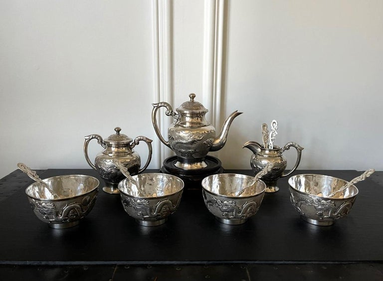 Rare Chinese Export Sterling Silver Tea Set with Dragon Design Tianjing Wuhua In Good Condition For Sale In Atlanta, GA