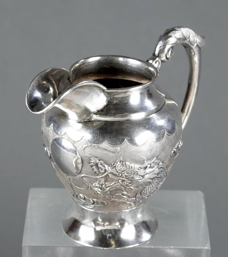 Rare Chinese Export Sterling Silver Tea Set with Dragon Design Tianjing Wuhua For Sale 3