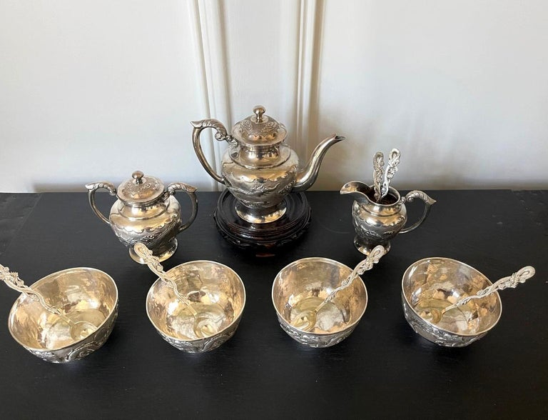 20th Century Rare Chinese Export Sterling Silver Tea Set with Dragon Design Tianjing Wuhua For Sale