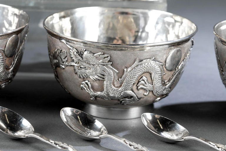 Rare Chinese Export Sterling Silver Tea Set with Dragon Design Tianjing Wuhua For Sale 9