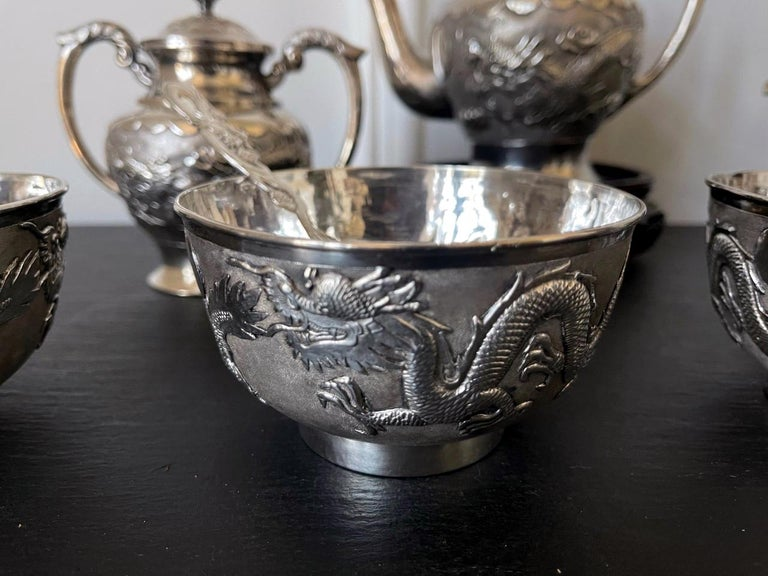 Rare Chinese Export Sterling Silver Tea Set with Dragon Design Tianjing Wuhua For Sale 4