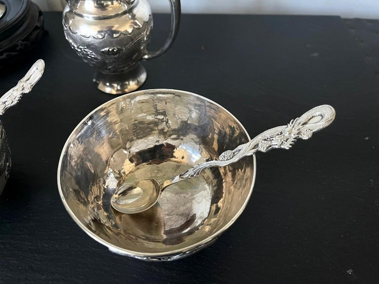 Rare Chinese Export Sterling Silver Tea Set with Dragon Design Tianjing Wuhua For Sale 5