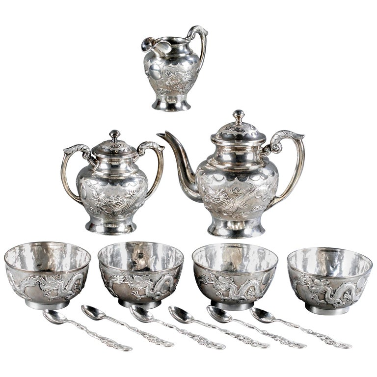Rare Chinese Export Sterling Silver Tea Set with Dragon Design Tianjing Wuhua For Sale