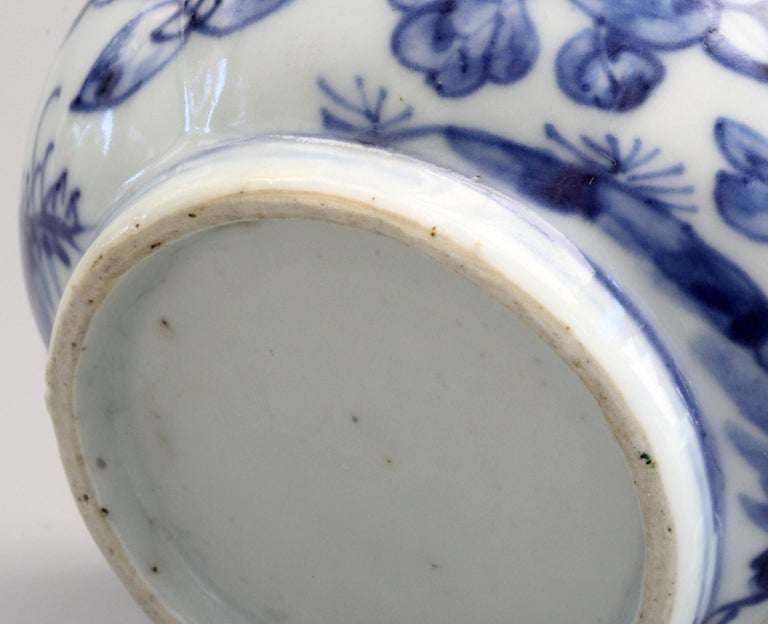 Rare Chinese Qianlong Blue and White Floral Painted Porcelain Spittoon For Sale 5