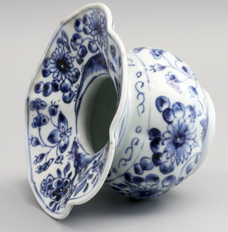Qing Rare Chinese Qianlong Blue and White Floral Painted Porcelain Spittoon For Sale
