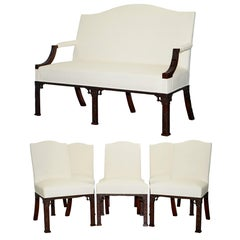 Rare Chinese Thomas Chippendale Number 10 Downing Street Suite Settee Armchairs