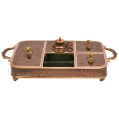 Rare Chinese Writing Desk for Export in Cloisonné Bronze with Black Enamel