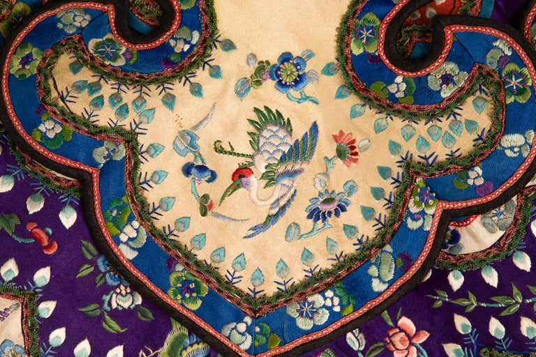 Rare Chinese Yun Jian Embroidered Silk Cloud Collar, circa 1880 For Sale 6