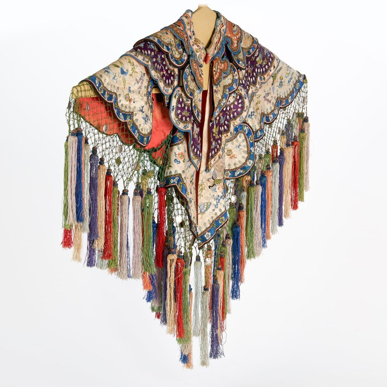 Rare Chinese Yun Jian Embroidered Silk Cloud Collar, circa 1880 For Sale 8