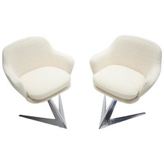 Rare Chrome and Bouclette Armchairs by Jacques Adnet, 1960s