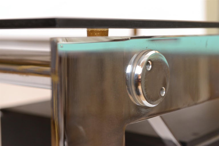 Rare Chrome and Glass Desk by Gilles Bouchez for Airbourne, circa 1965 For Sale 4