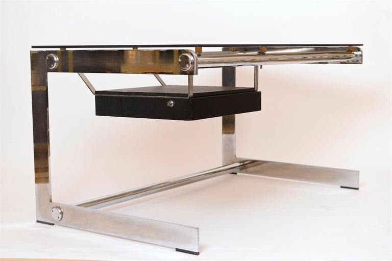 Mid-Century Modern Rare Chrome and Glass Desk by Gilles Bouchez for Airbourne, circa 1965 For Sale