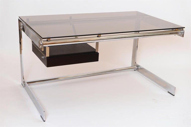 French Rare Chrome and Glass Desk by Gilles Bouchez for Airbourne, circa 1965 For Sale