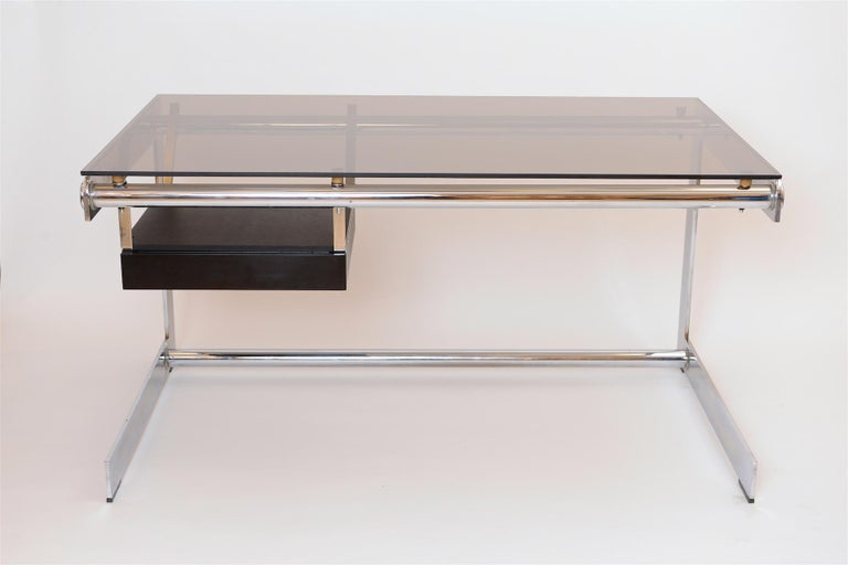 Rare Chrome and Glass Desk by Gilles Bouchez for Airbourne, circa 1965 In Good Condition For Sale In London, GB