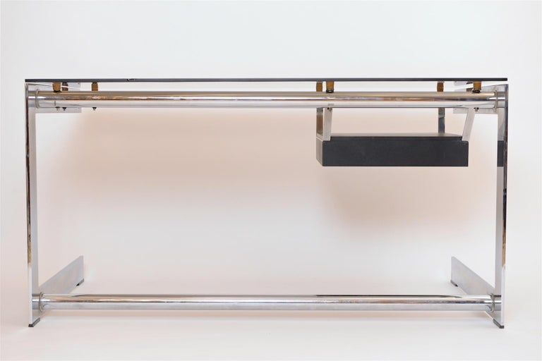 Mid-20th Century Rare Chrome and Glass Desk by Gilles Bouchez for Airbourne, circa 1965 For Sale