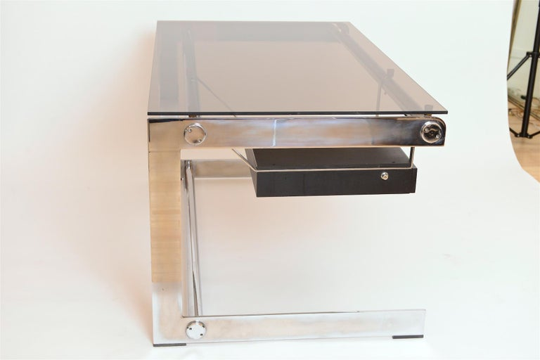 Steel Rare Chrome and Glass Desk by Gilles Bouchez for Airbourne, circa 1965 For Sale