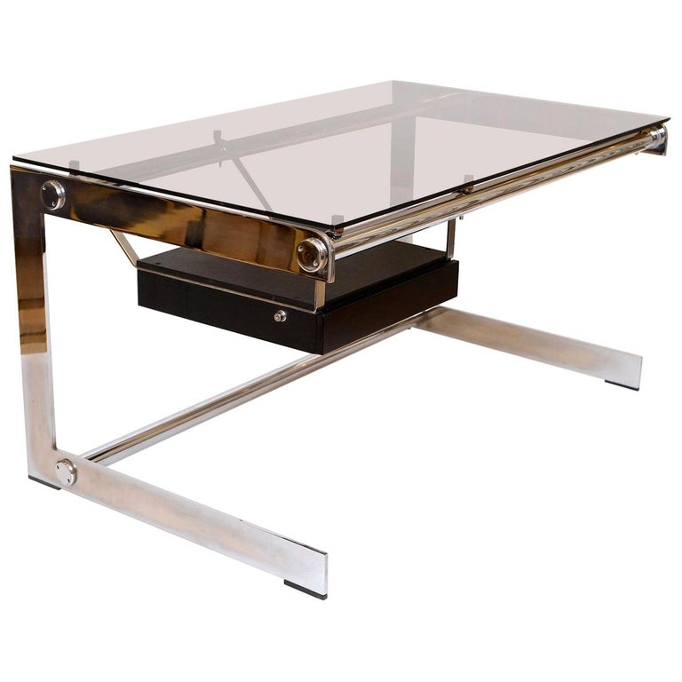 Rare Chrome and Glass Desk by Gilles Bouchez for Airbourne, circa 1965 For Sale