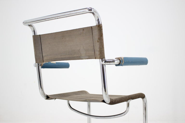 Czech Rare Chrome Bauhaus Chair by Rudolf Vichr, 1930s For Sale