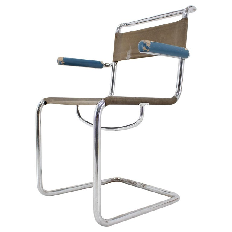 Rare Chrome Bauhaus Chair by Rudolf Vichr, 1930s For Sale