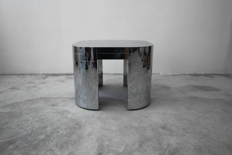 From a one owner estate, comes a rare opportunity to own an authentic and very rare all chrome, patchwork Cityscape table by Paul Evans. Table is an oversized square with rounded corners. Measuring 30