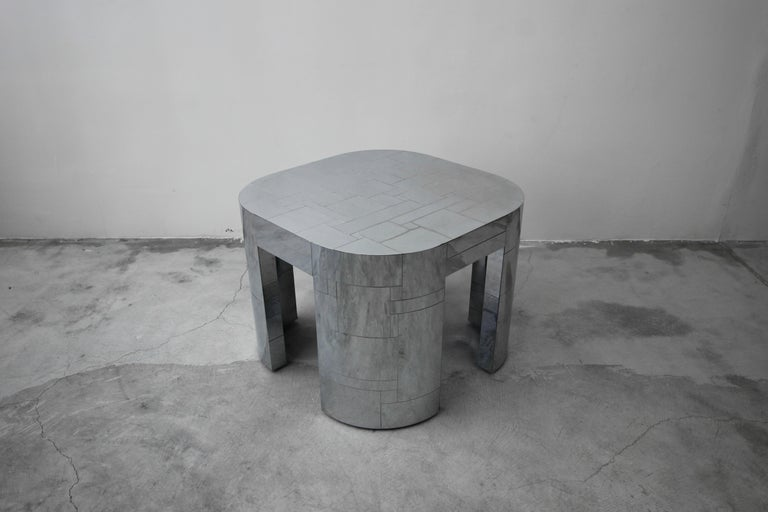 Mid-Century Modern Rare Chrome Patchwork Cityscape Table by Paul Evans For Sale