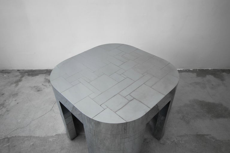 20th Century Rare Chrome Patchwork Cityscape Table by Paul Evans For Sale