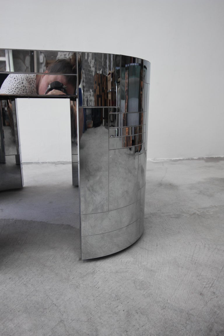 Rare Chrome Patchwork Cityscape Table by Paul Evans For Sale 2