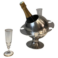 Rare Chromed Champagne Bucket with Flutes Holder, French, Circa 1970