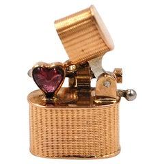 Rare Cigarette Heart Stone Charm, 14 Karat Yellow Gold, Movable Parts