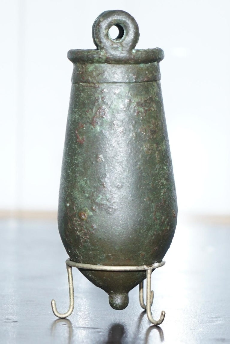 Hand-Crafted Rare circa 100AC Ancient 1st Century Roman Bronze Amphora Jug Vessel on Stand For Sale