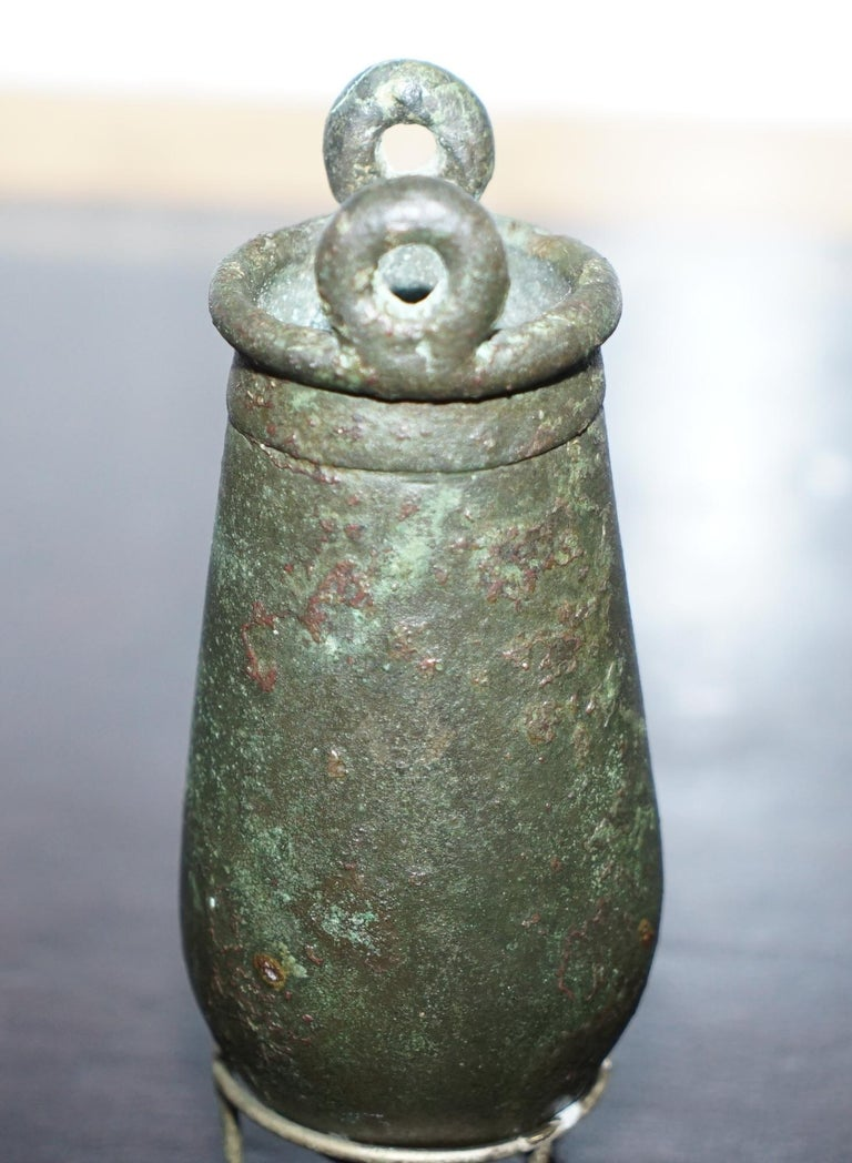 Rare circa 100AC Ancient 1st Century Roman Bronze Amphora Jug Vessel on Stand In Good Condition For Sale In London, GB